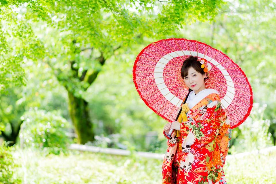 京都前撮り・新緑シーズンの色打掛