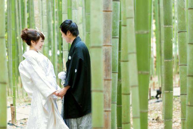 京都の竹林での前撮り