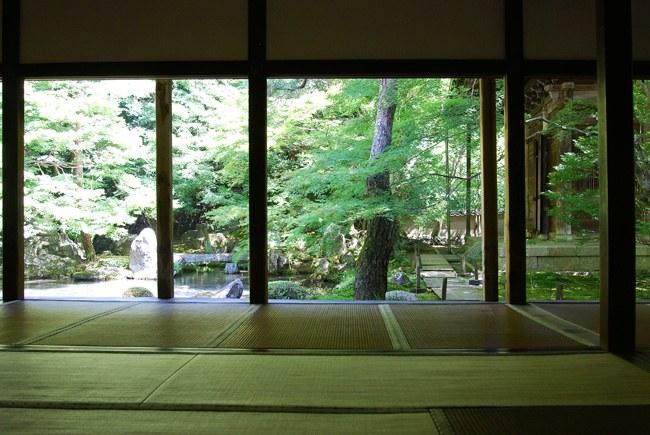 蓮華寺の書院から眺める庭園