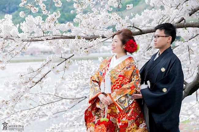 渡月橋近くの桜