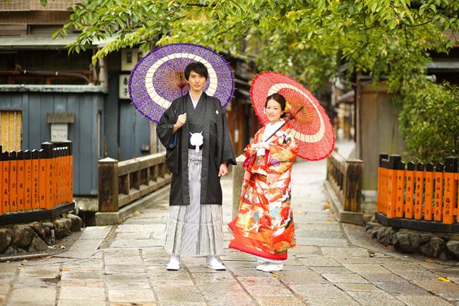 京都・祇園の巽橋での前撮り