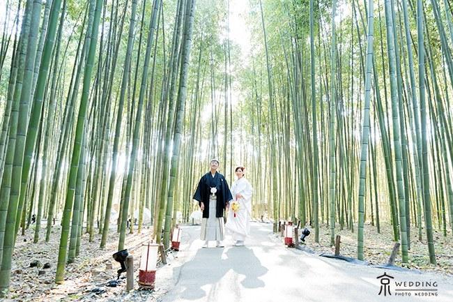 逆光を活かした竹林での前撮り撮影