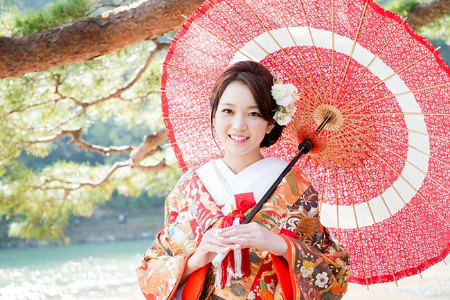 和傘と笑顔