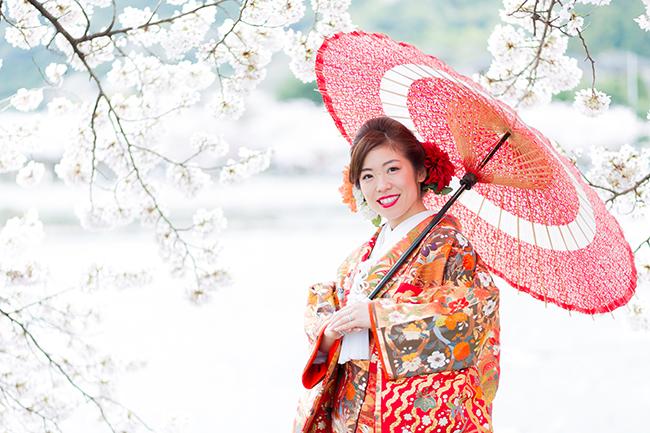 和傘と桜と色打掛