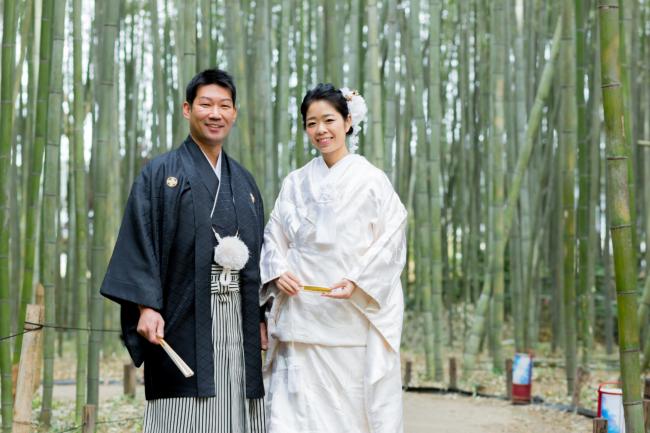 白無垢で嵯峨野の竹林で前撮り
