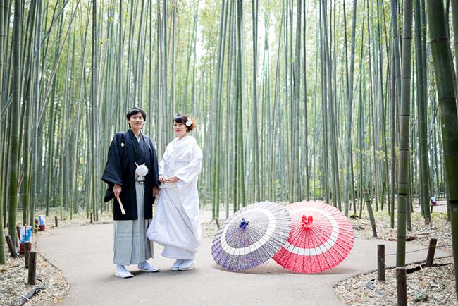 嵯峨野の竹林で前撮り