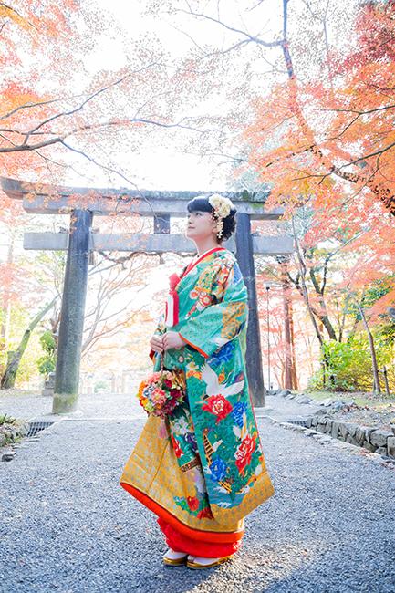 大原野神社にて色打掛で撮影