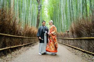 まだまだ緑が美しい!嵯峨野の竹林で和装前撮り!