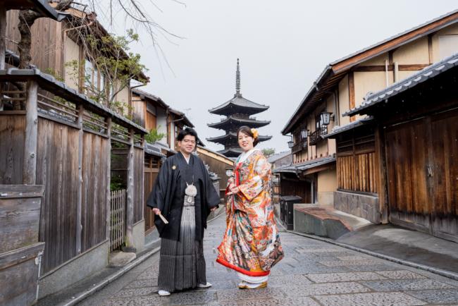 京都の町並みが和装前撮りと合いますね♪