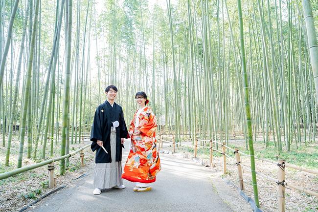 竹の緑も鮮やかに!和装前撮りが映えます♪