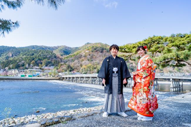 和装前撮りロケーションの定番・京都嵐山渡月橋!
