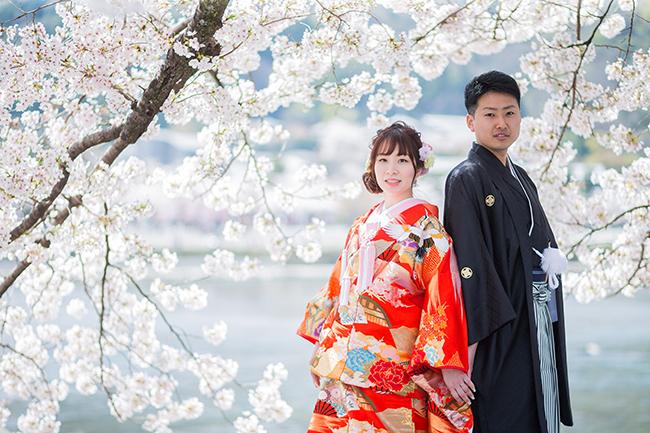 京都桜の名所!春の和装前撮りは嵐山!
